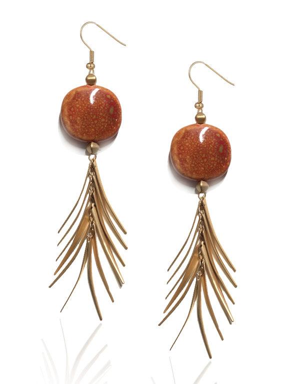 Orange Stone Gold Feathered Earrings