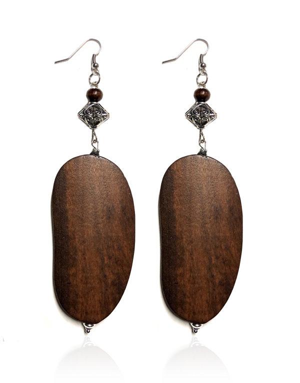 Brown Wood W Silver Bead Earrings